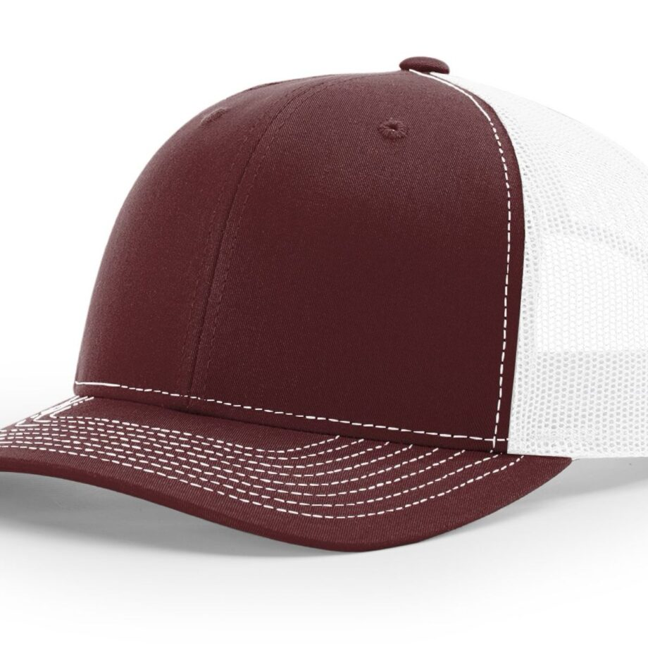 R112 Richardson Trucker Cap Maroon and White