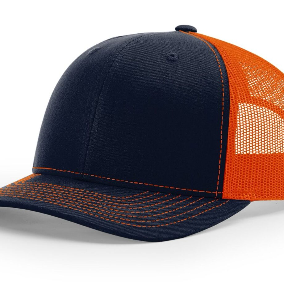 R112 Richardson Trucker Cap Navy and Orange