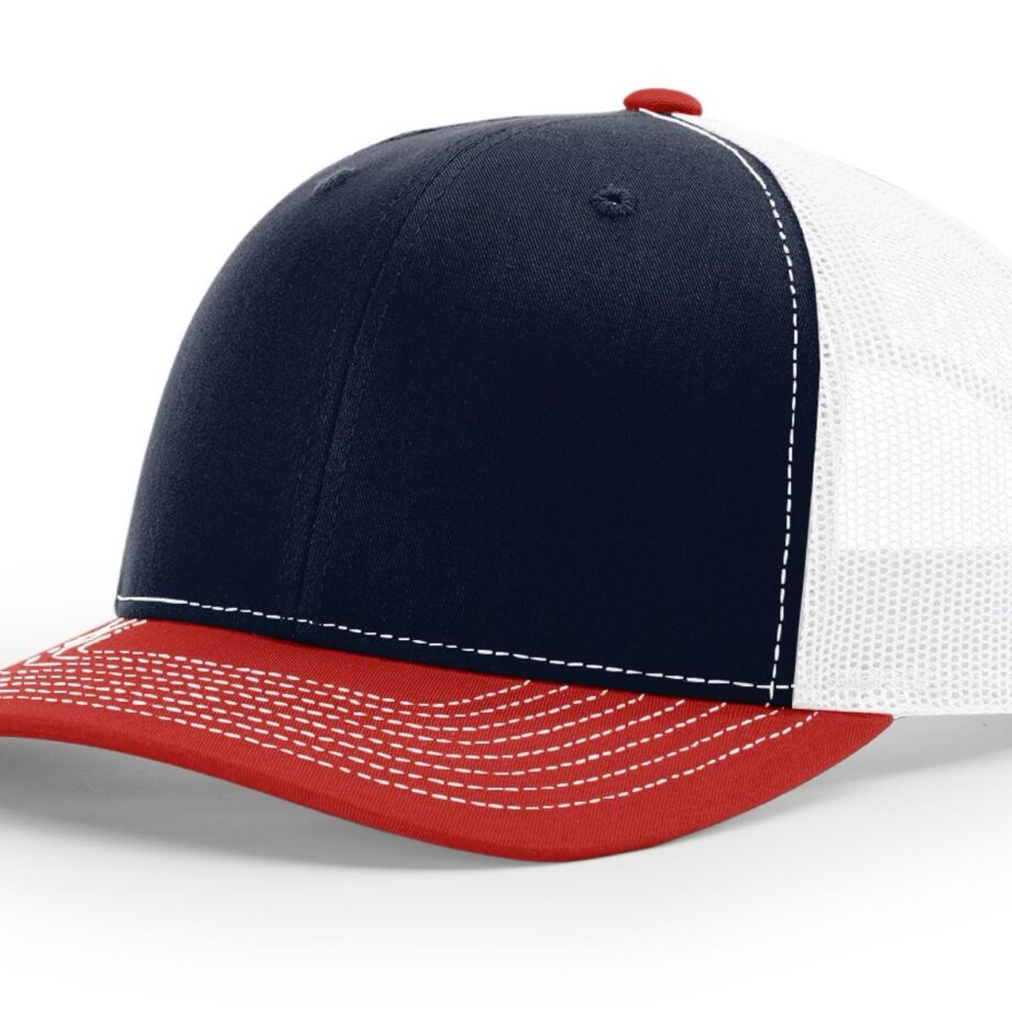 R112 Richardson Trucker Cap Navy and White and Red