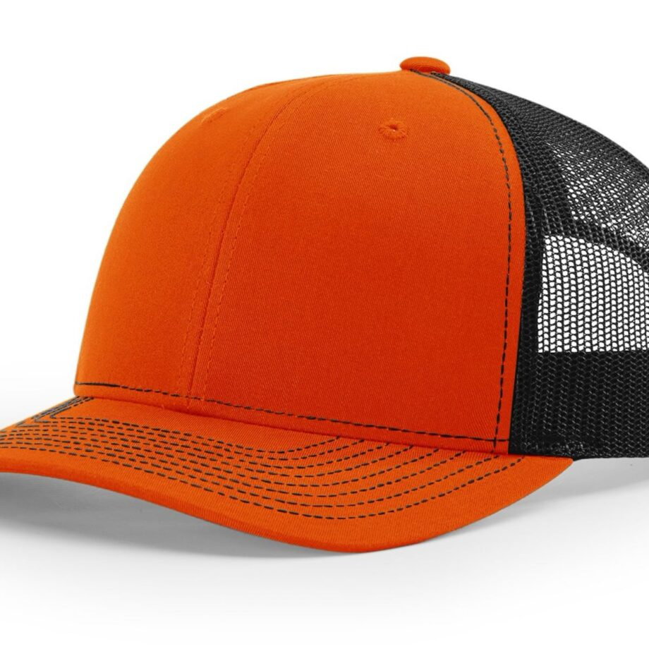 R112 Richardson Trucker Cap Orange and Black