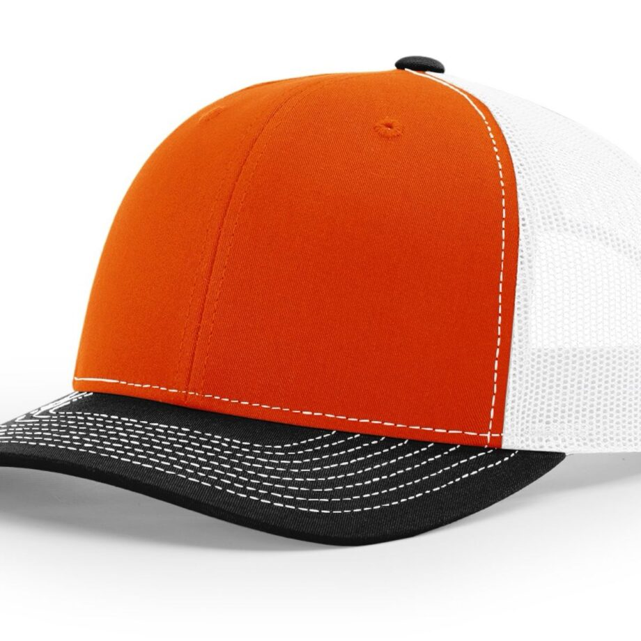 R112 Richardson Trucker Cap Orange and White and Black