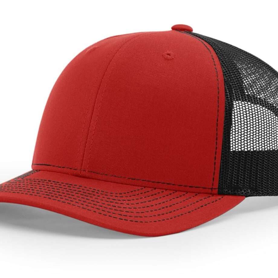 R112 Richardson Trucker Cap Red and Black