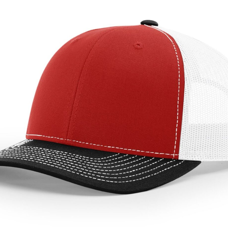 R112 Richardson Trucker Cap Red and White and Black