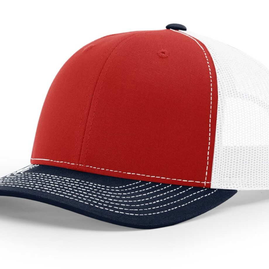 R112 Richardson Trucker Cap Red and White and Navy