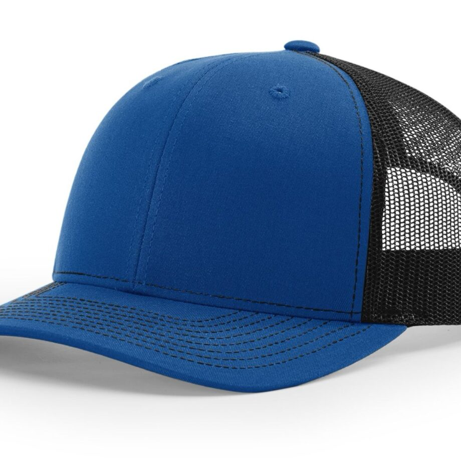 R112 Richardson Trucker Cap Royal and Black