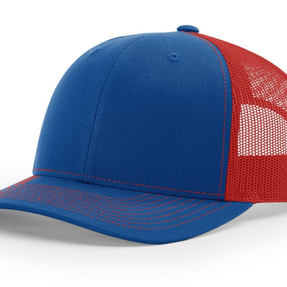 R112 Richardson Trucker Cap Royal and Red