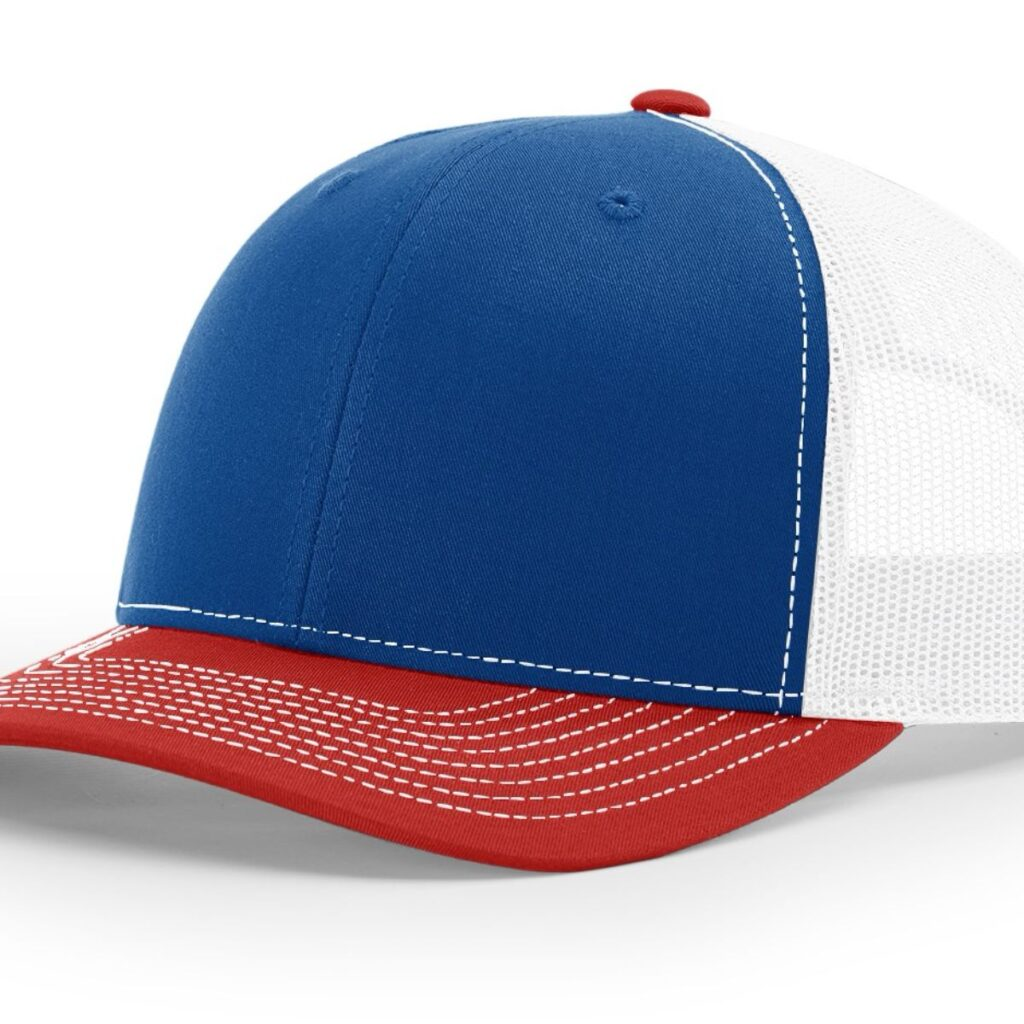 R112 Richardson Trucker Cap Royal and White and Red