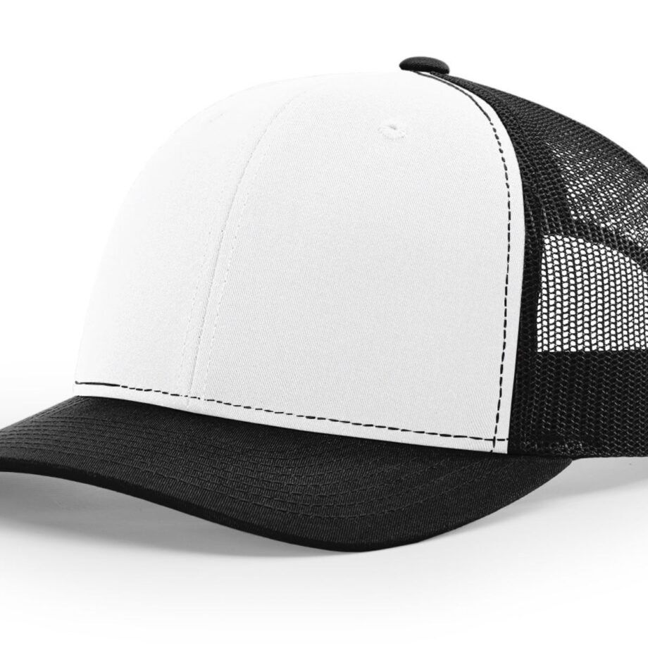 R112 Richardson Trucker Cap White and Black