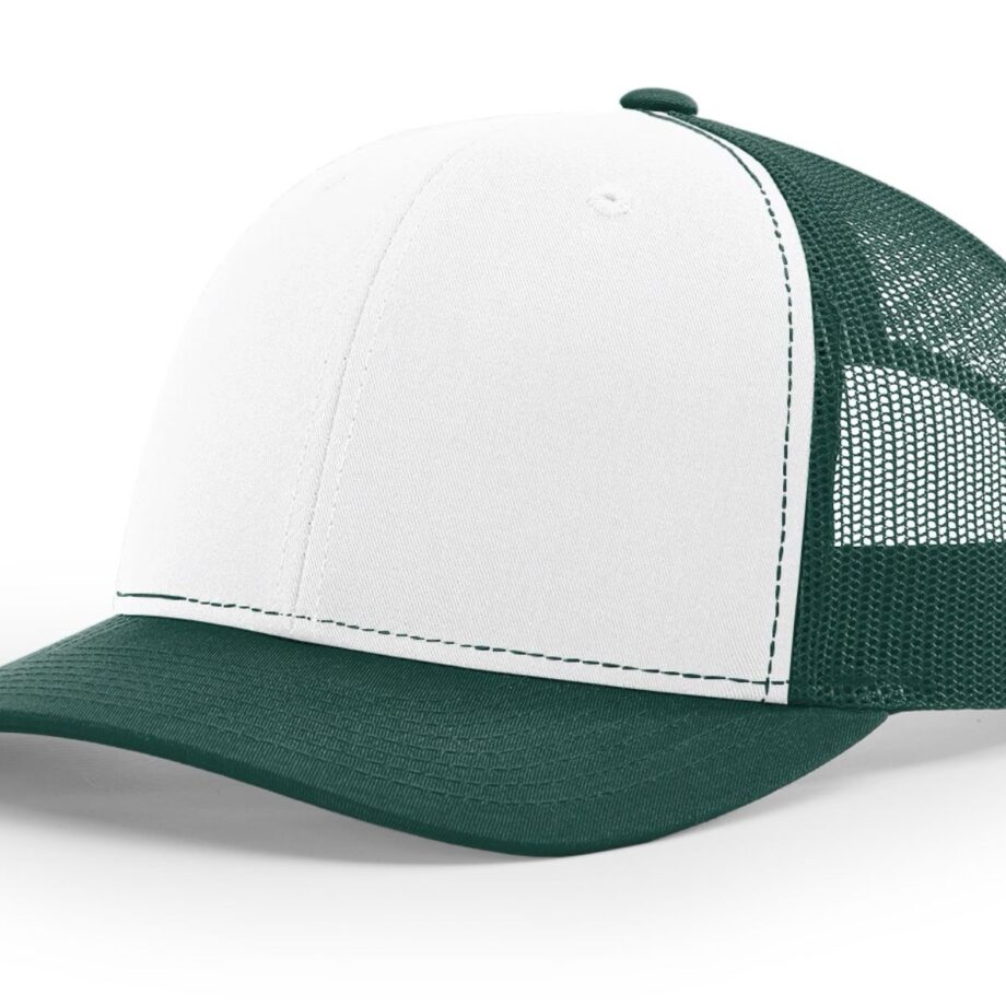 R112 Richardson Trucker Cap White and Dark Green