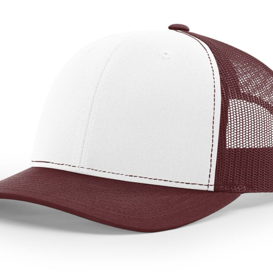 R112 Richardson Trucker Cap White and Maroon