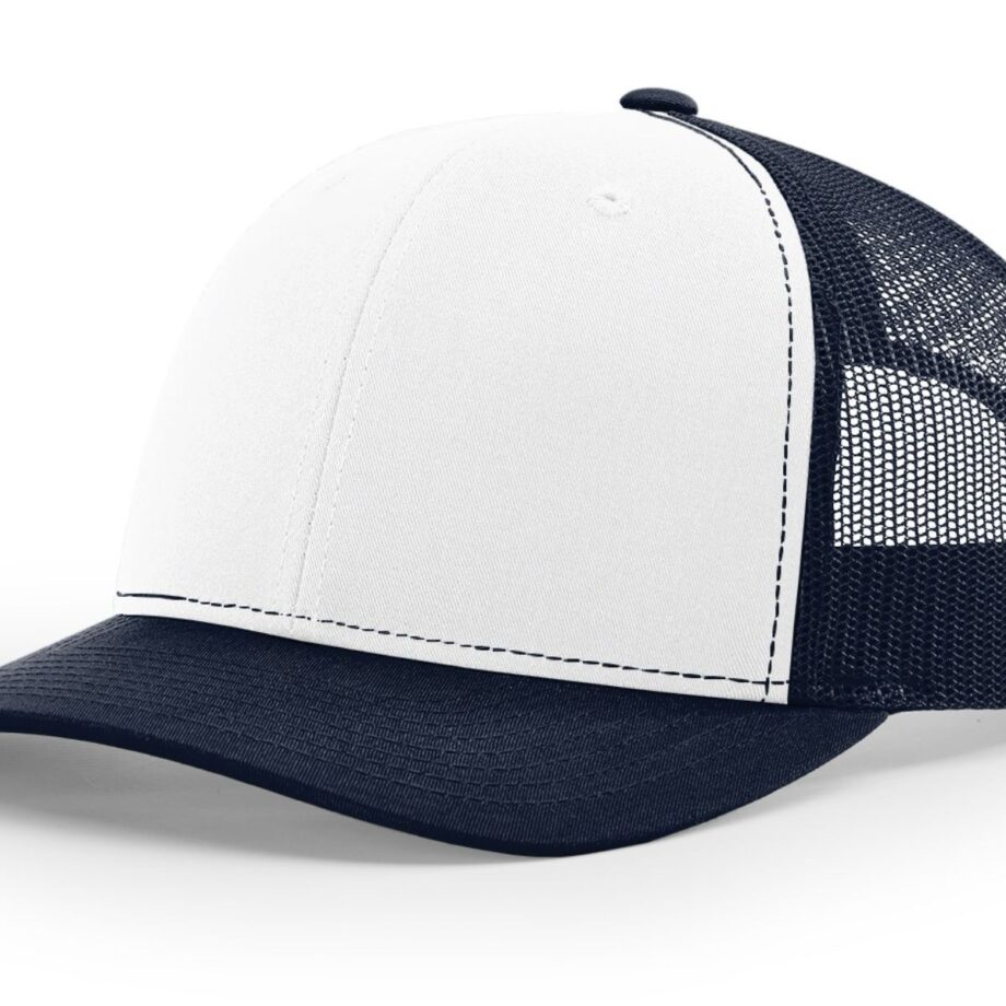 R112 Richardson Trucker Cap White and Navy