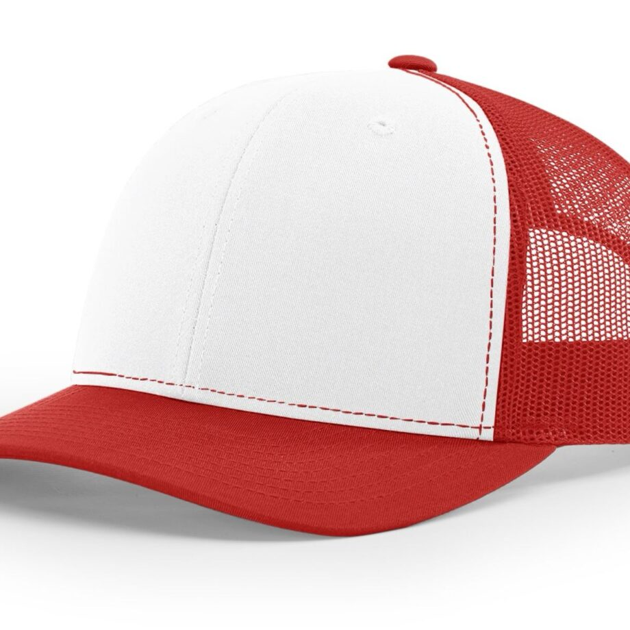 R112 Richardson Trucker Cap White and Red