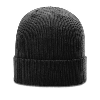 R119 Rib Knit Beanie Black with Cuff