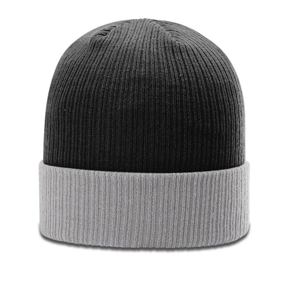 R119 Rib Knit Beanie Black with Grey Cuff Black
