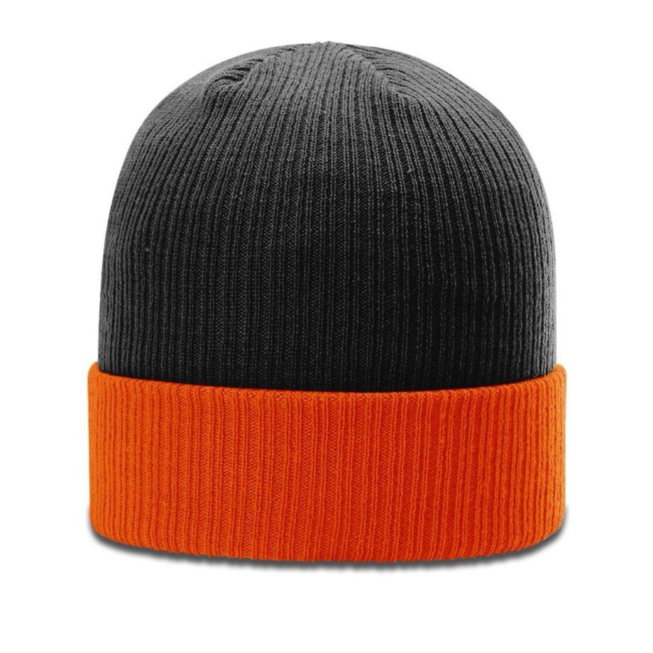 R119 Rib Knit Beanie Black with Orange Cuff Black