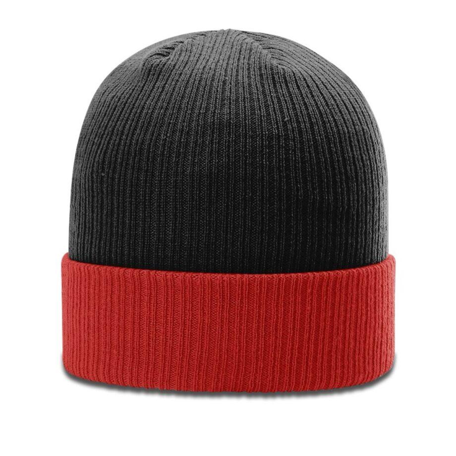 R119 Rib Knit Beanie Black with Red Cuff Black