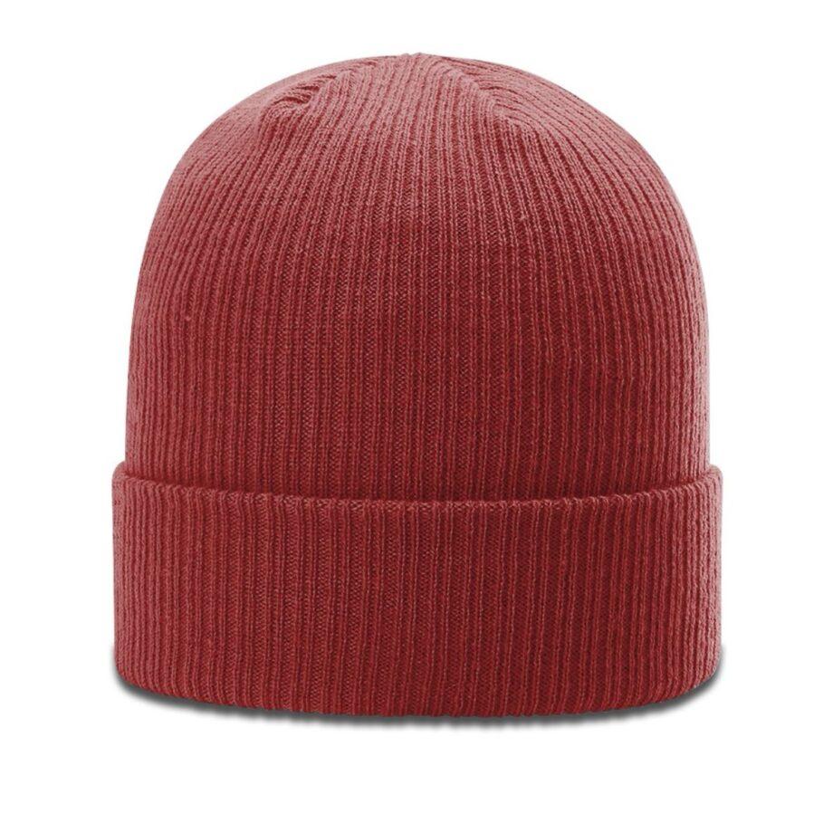 R119 Rib Knit Beanie Cardinal with Cuff
