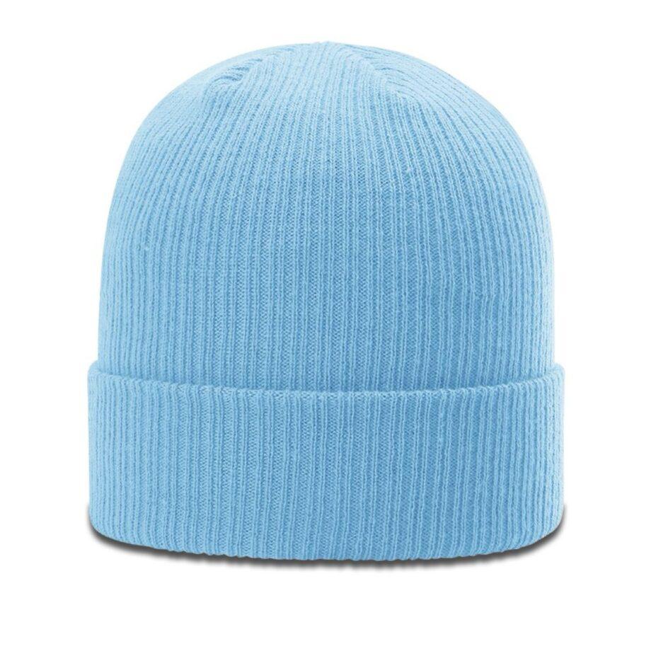 R119 Rib Knit Beanie Columbia Blue with Cuff