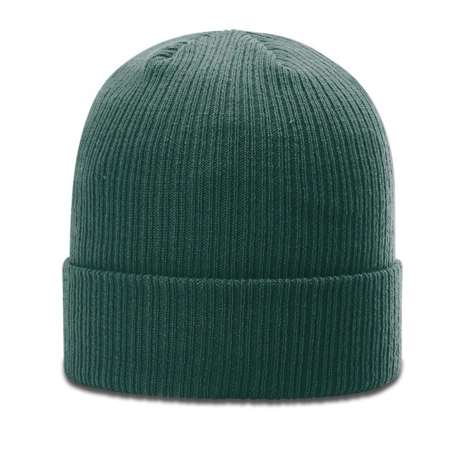 R119 Rib Knit Beanie Dark Green with Cuff
