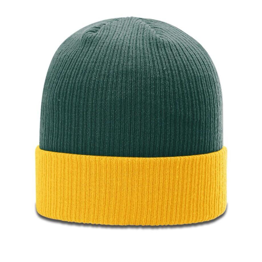 R119 Rib Knit Beanie Dark Green with Gold Cuff