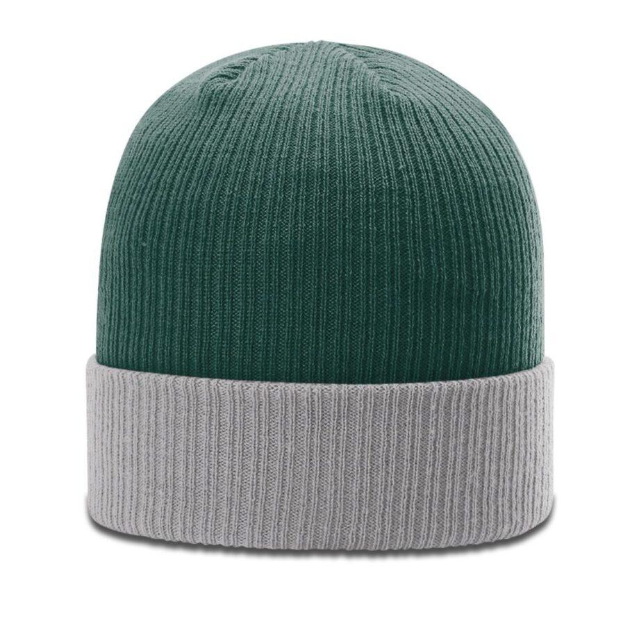 R119 Rib Knit Beanie Dark Green with Grey Cuff