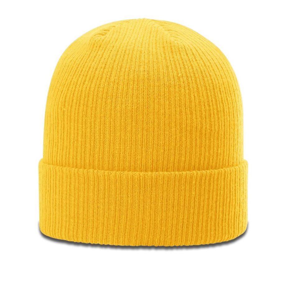 R119 Rib Knit Beanie Gold with Cuff