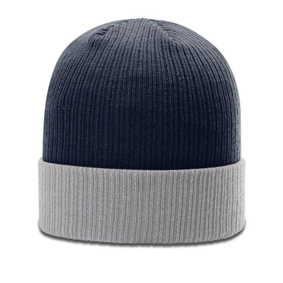 R119 Rib Knit Beanie Navy with Grey Cuff