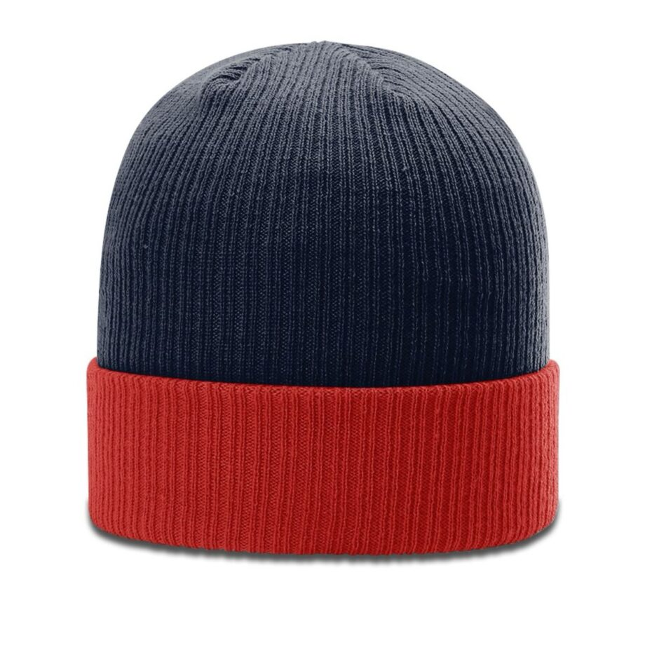 R119 Rib Knit Beanie Navy with Red Cuff