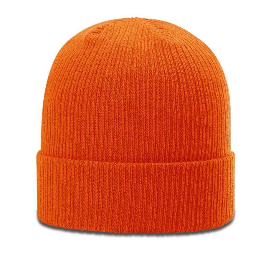 R119 Rib Knit Beanie Orange with Cuff