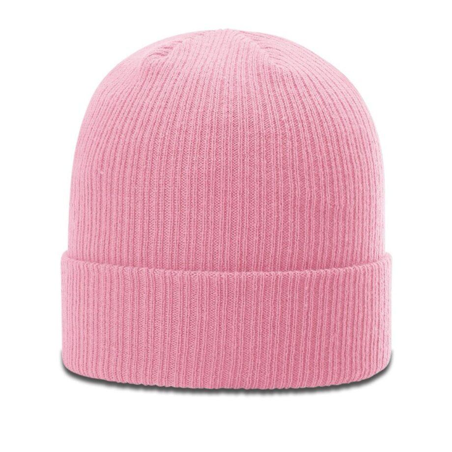 R119 Rib Knit Beanie Pink with Cuff