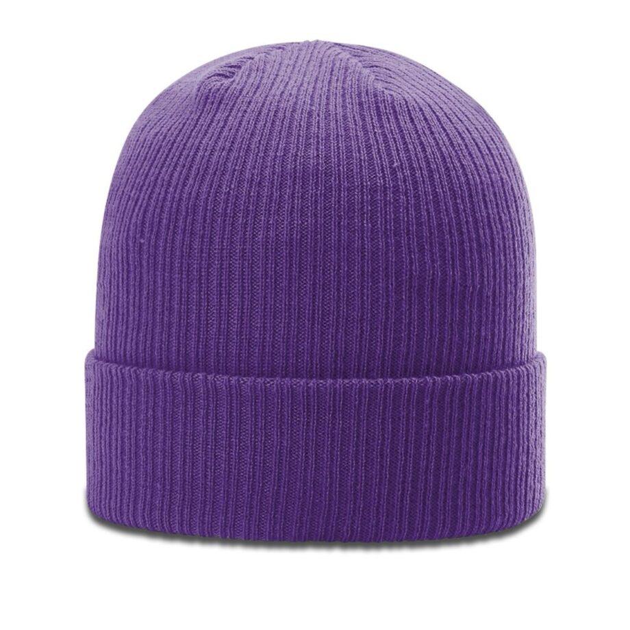 R119 Rib Knit Beanie Purple with Cuff