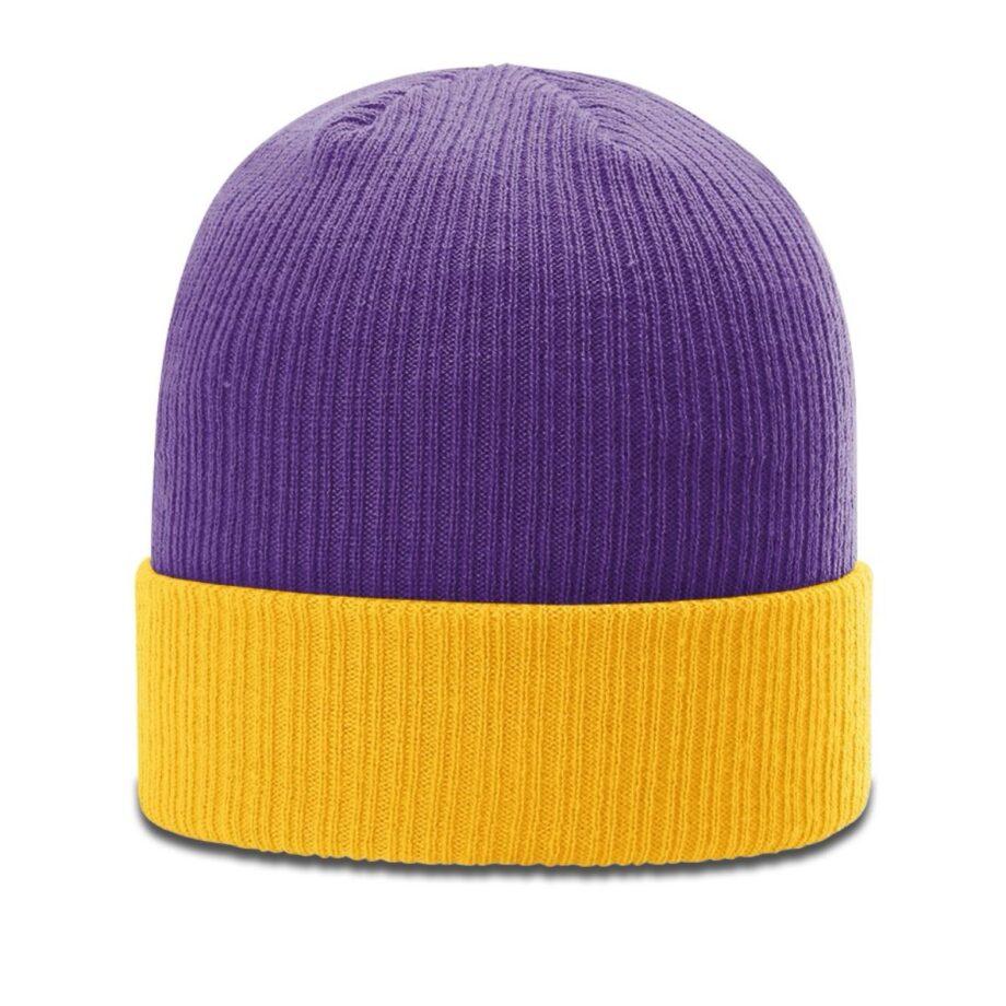 R119 Rib Knit Beanie Purple with Gold Cuff