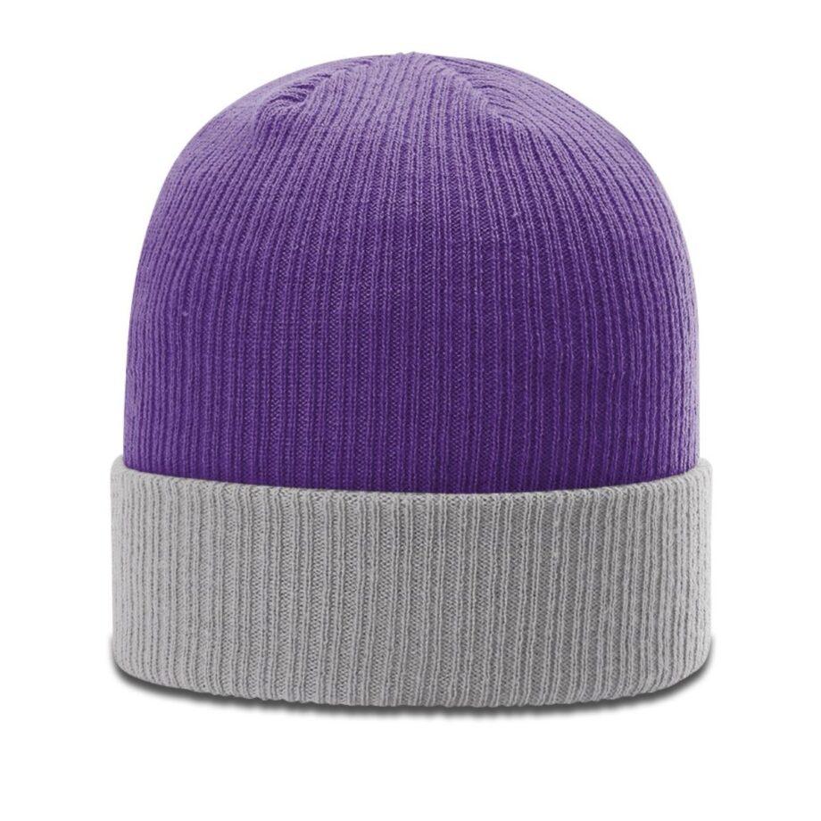 R119 Rib Knit Beanie Purple with Grey Cuff