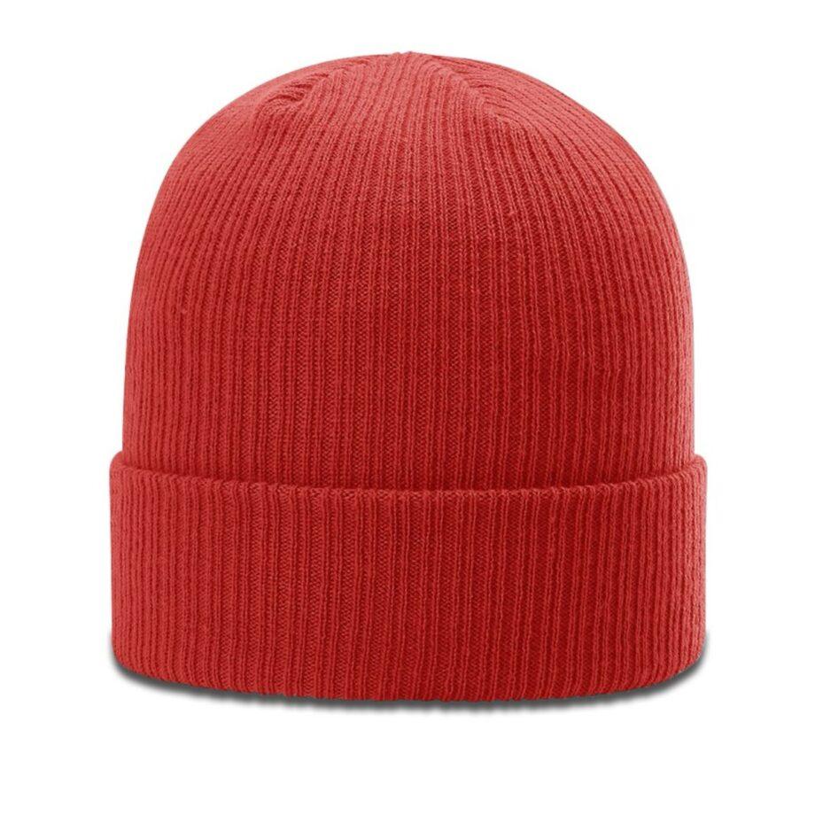 R119 Rib Knit Beanie Red with Cuff