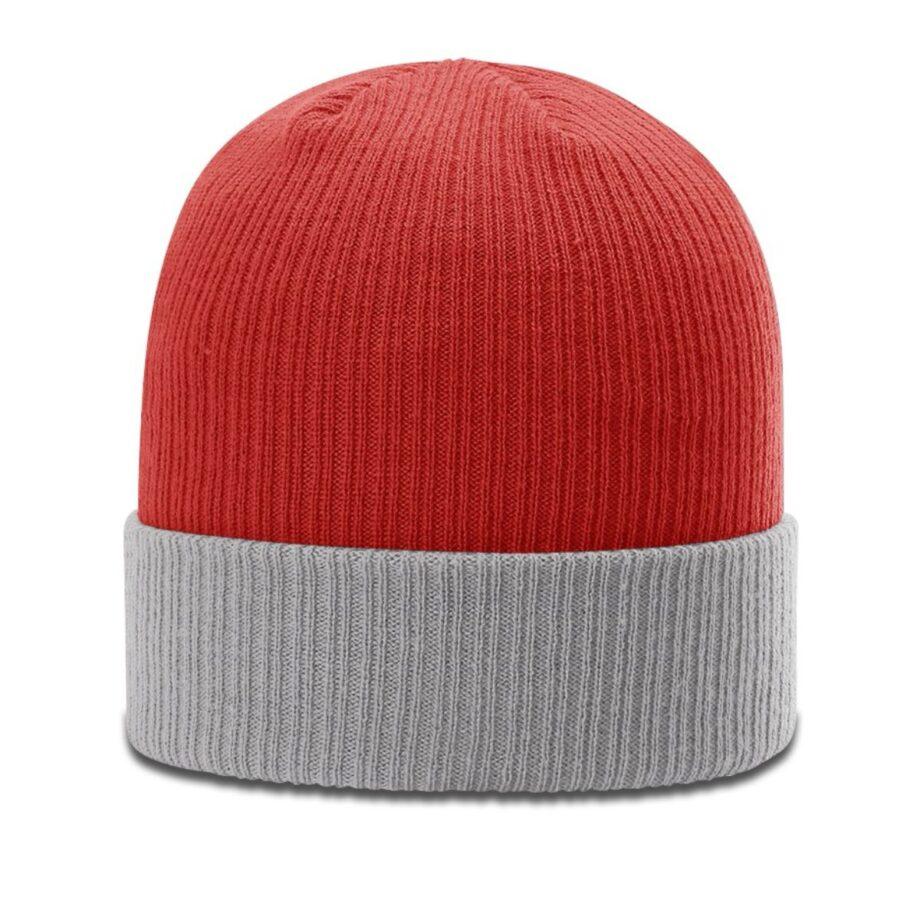 R119 Rib Knit Beanie Red with Grey Cuff