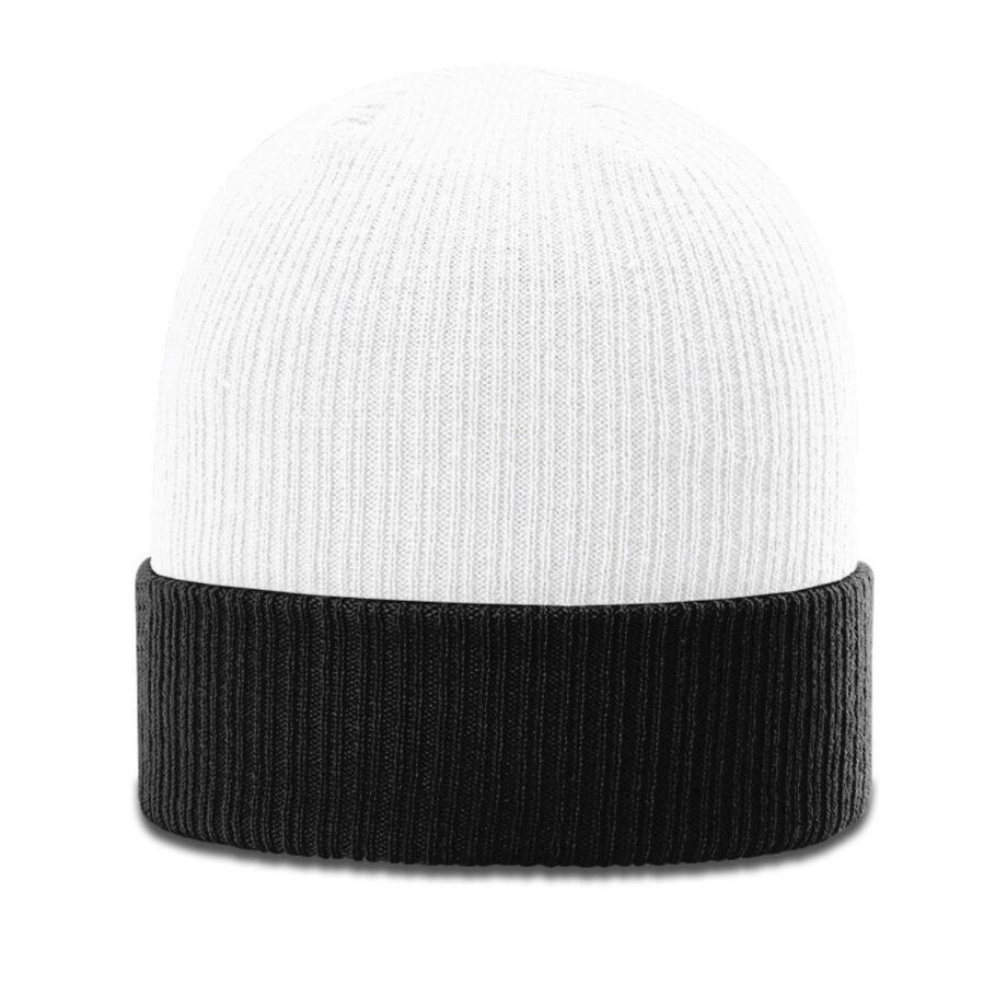 R119 Rib Knit Beanie White with Black Cuff
