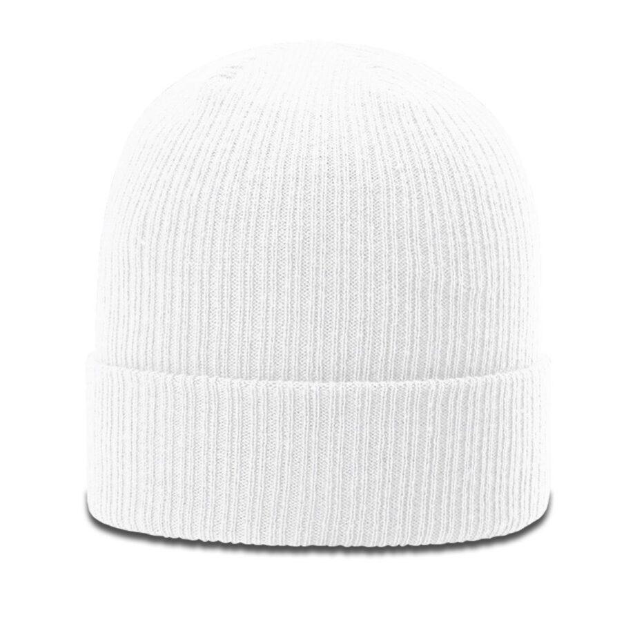 R119 Rib Knit Beanie White with Cuff