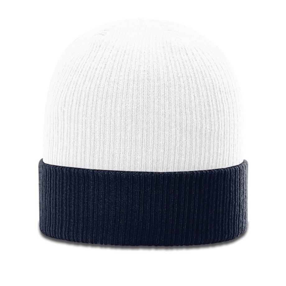 R119 Rib Knit Beanie White with Navy-Cuff