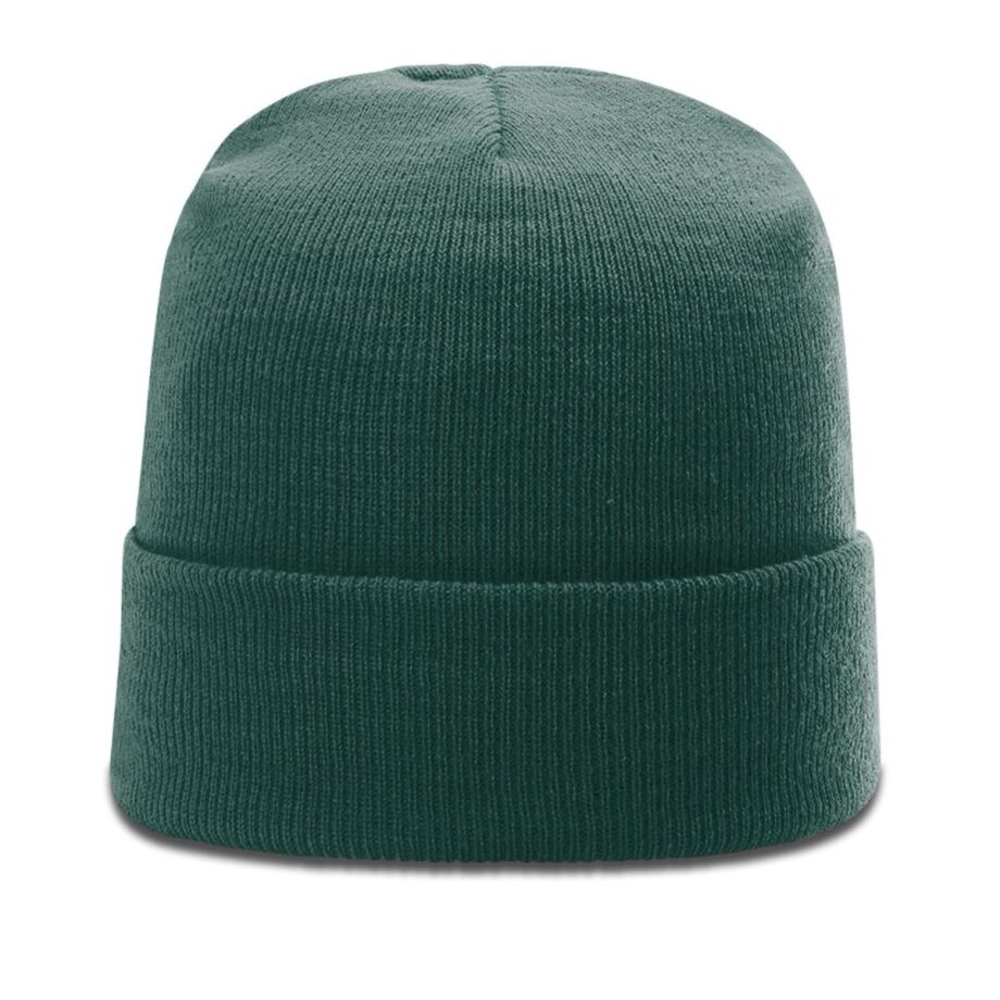 R18 Solid Knit Beanie with Cuff Dark Green
