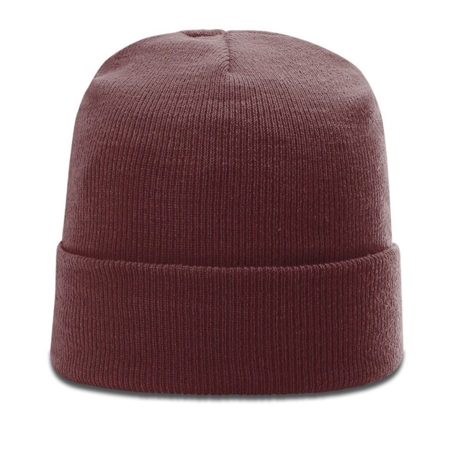 R18 Solid Knit Beanie with Cuff Maroon