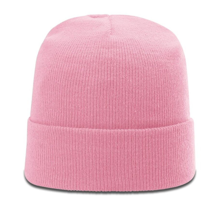 R18 Solid Knit Beanie with Cuff Pink