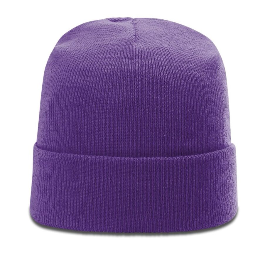 R18 Solid Knit Beanie with Cuff Purple