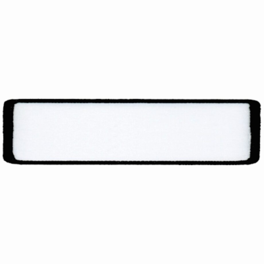 """Rectangular-Patch-1""""x4""""-White-with-Black"""