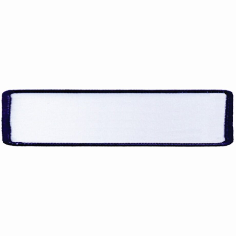 """Rectangular-Patch-1""""x4""""-White-with-Navy"""