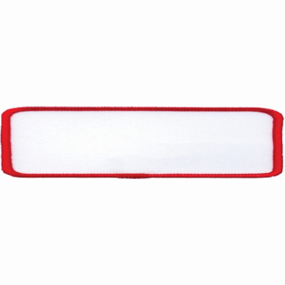 """Rectangular-Patch-1""""x4""""-White-with-Red"""