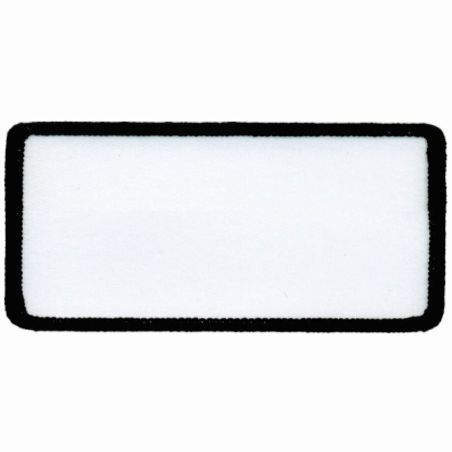 "Rectangular-Patch-1-5/8""x3-5/8""-White-with-Black"
