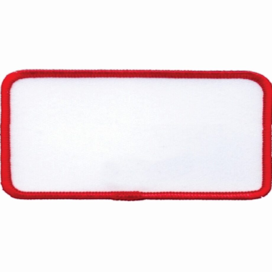 "Rectangular-Patch-1-5/8""x3-5/8""-White-with-Red"