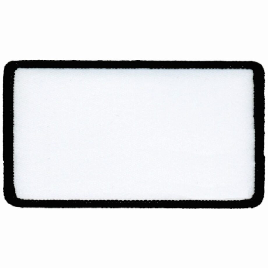 "Rectangular-Patch-2-1/2""x4-1/2""-White-with-Black"