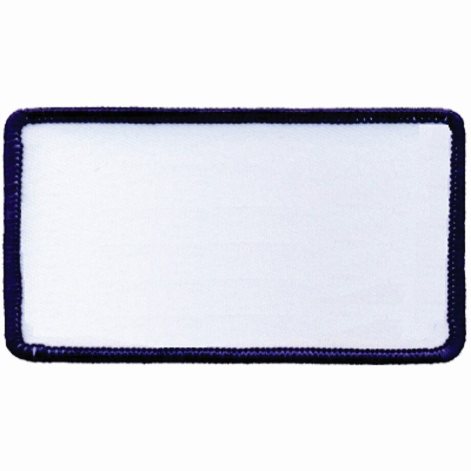 "Rectangular-Patch-2-1/2""x4-1/2""-White-with-Navy"