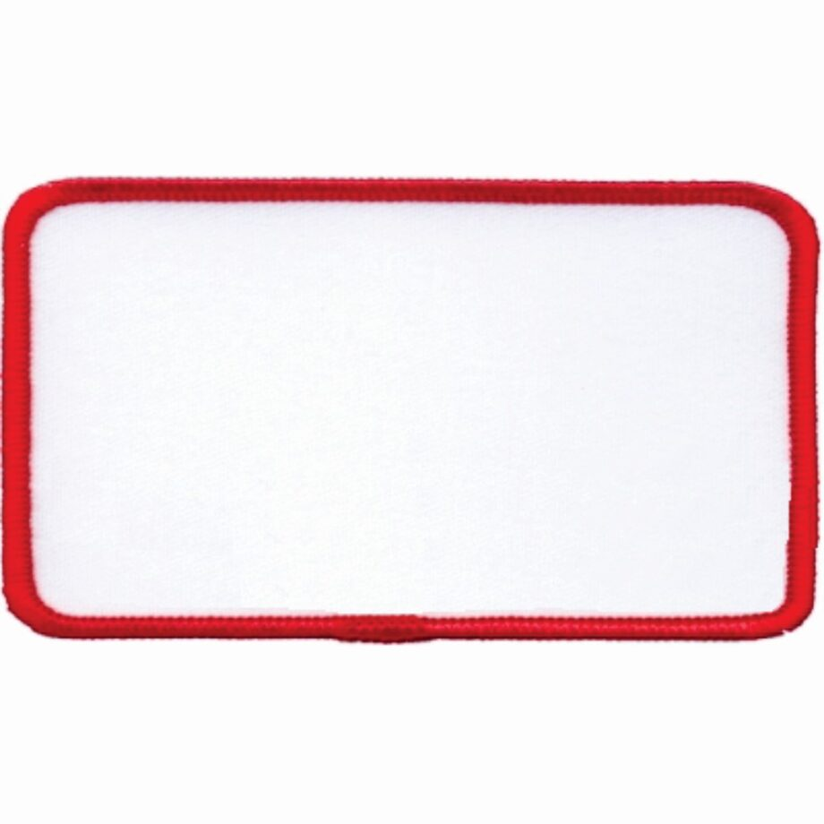"Rectangular-Patch-2-1/2""x4-1/2""-White-with-Red"